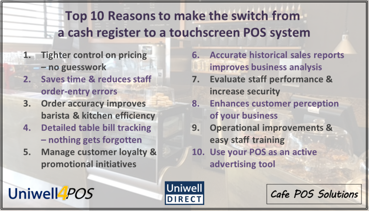 Upgrade your cash register to a Uniwell touchscreen POS system
